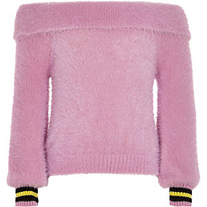 Girls pink bardot fluffy knit tipped jumper