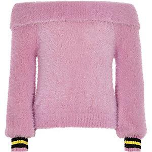 Girls pink bardot fluffy knit tipped jumper