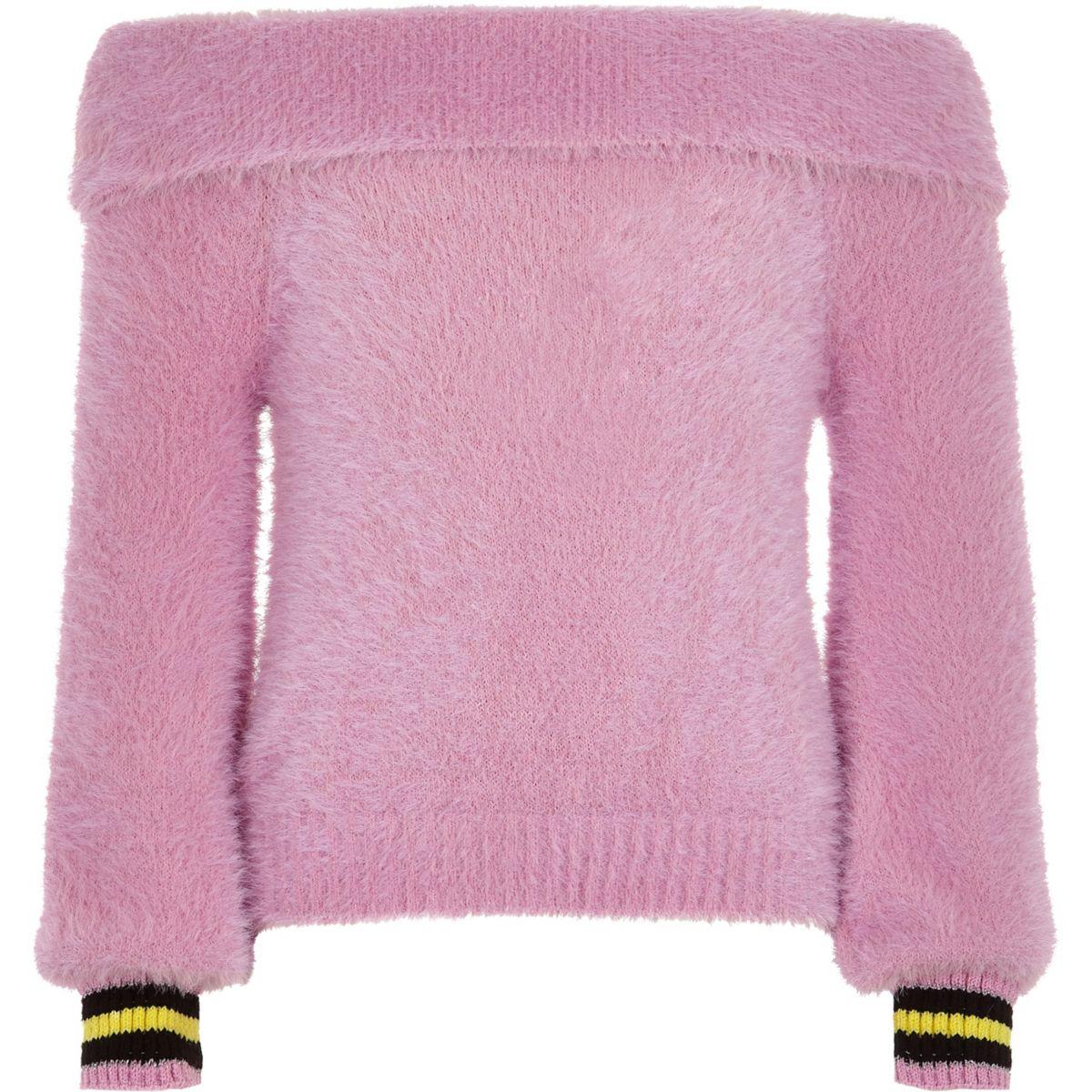 Girls pink bardot fluffy knit tipped sweater
