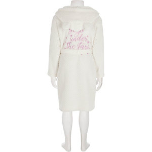 Girls cream quilted fluffy dressing gown