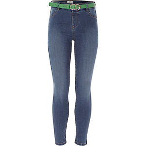 Girls blue Molly belted jeggings