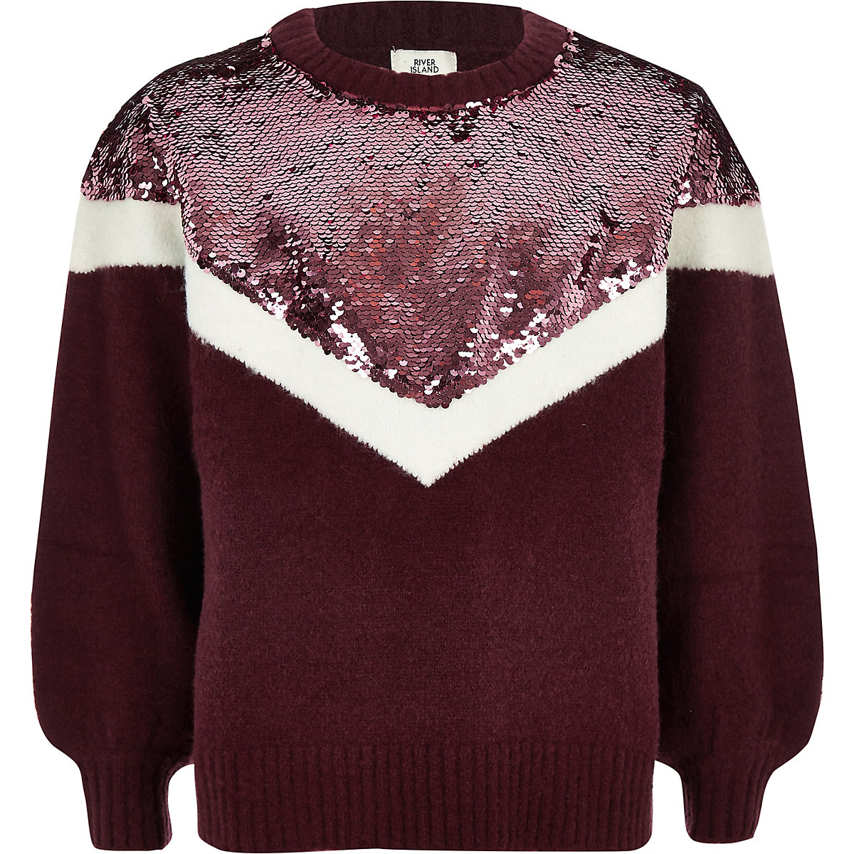 Girls purple chevron sequin knit jumper