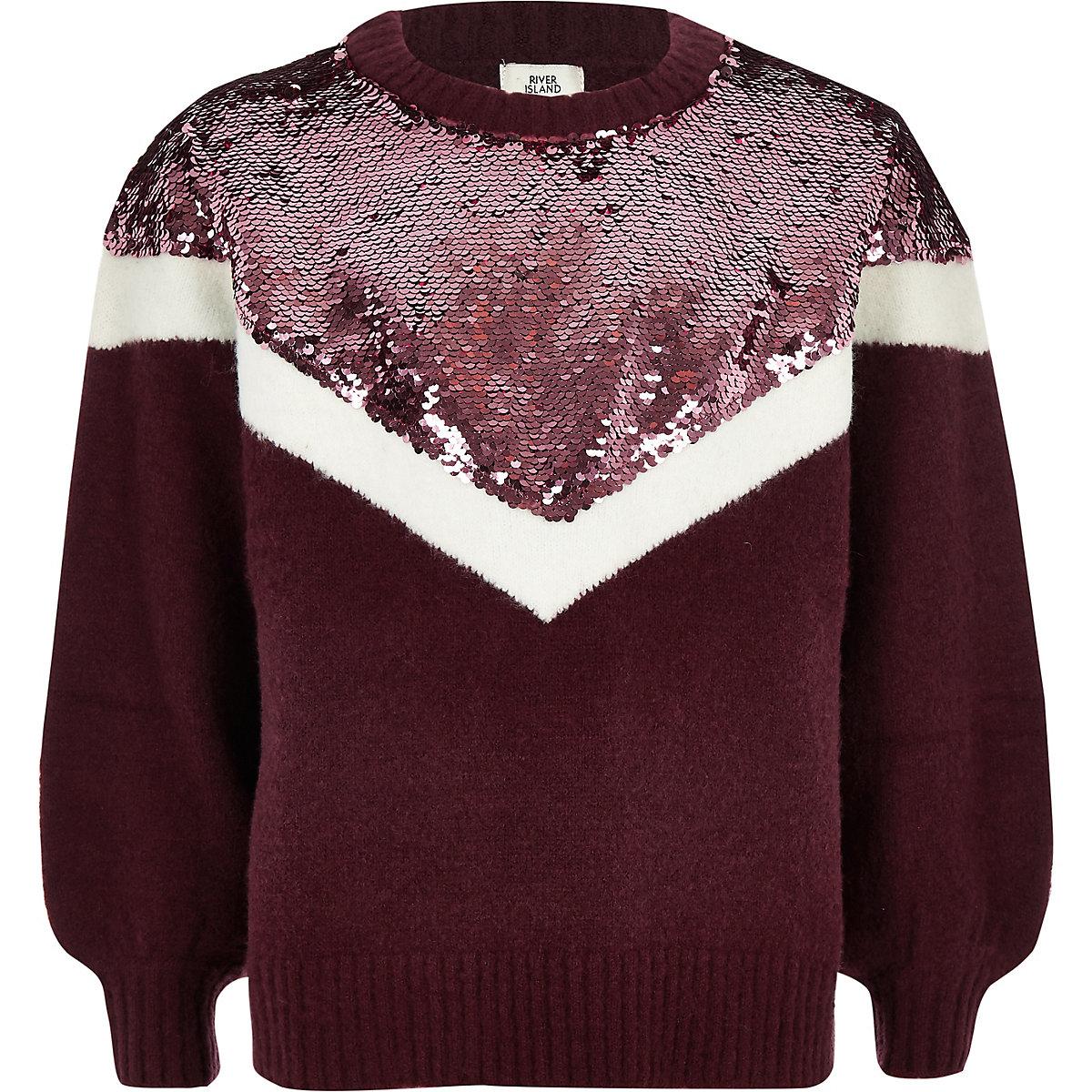 Girls purple chevron sequin knit sweater