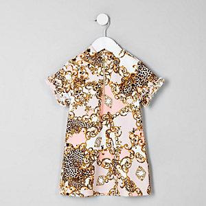 Robe droite imprimé baroque crème mini fille