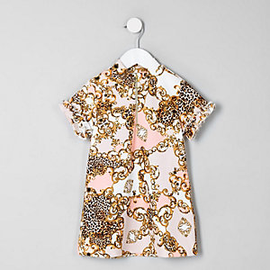 Mini - Crème jurk met barokprint voor meisjes