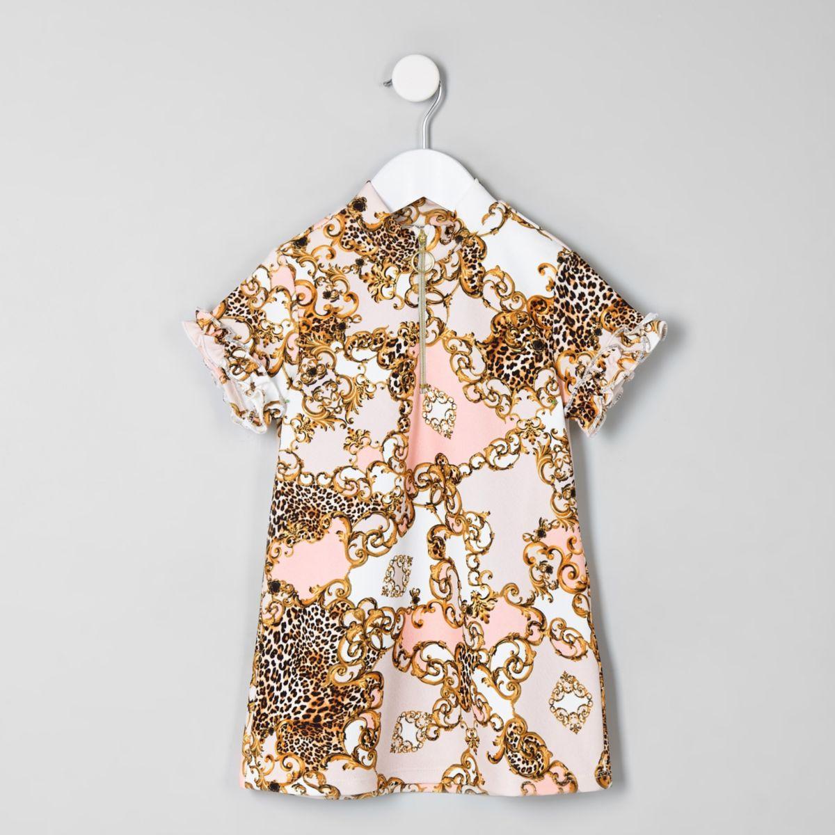 Mini girls cream baroque print shift dress