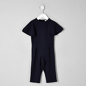 Mini girls navy frill sleeve jumpsuit