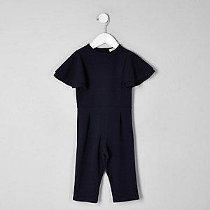Mini - Marineblauwe jumpsuit met ruches aan de mouwen voor meisjes