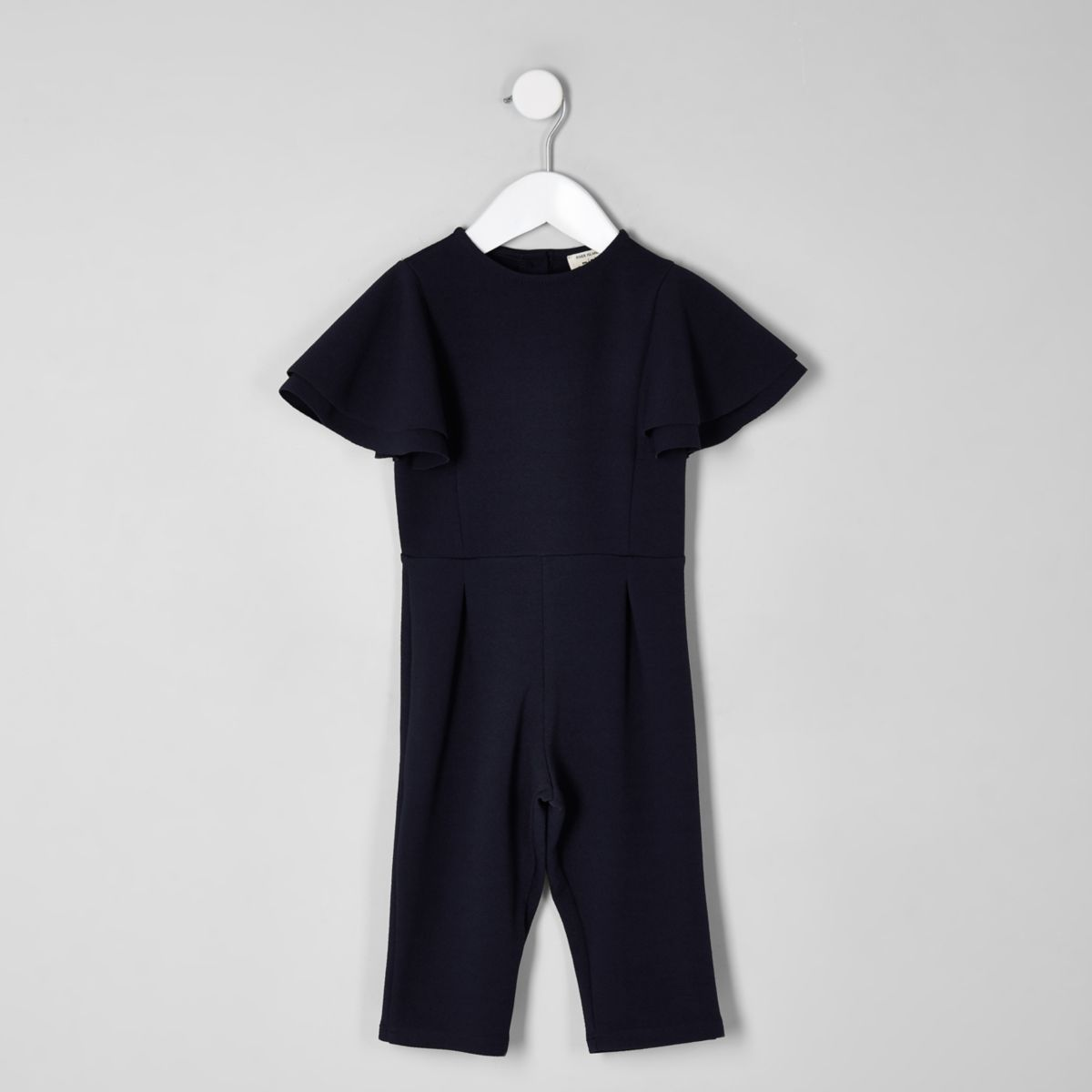 Mini girls navy frill sleeve jumpsuit