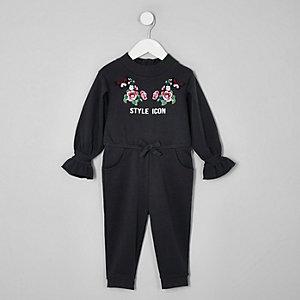 Mini girls grey 'style icon' jumpsuit