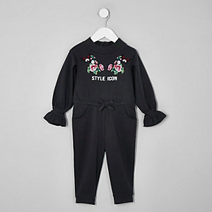 Mini girls grey 'style icon' jumpsuit