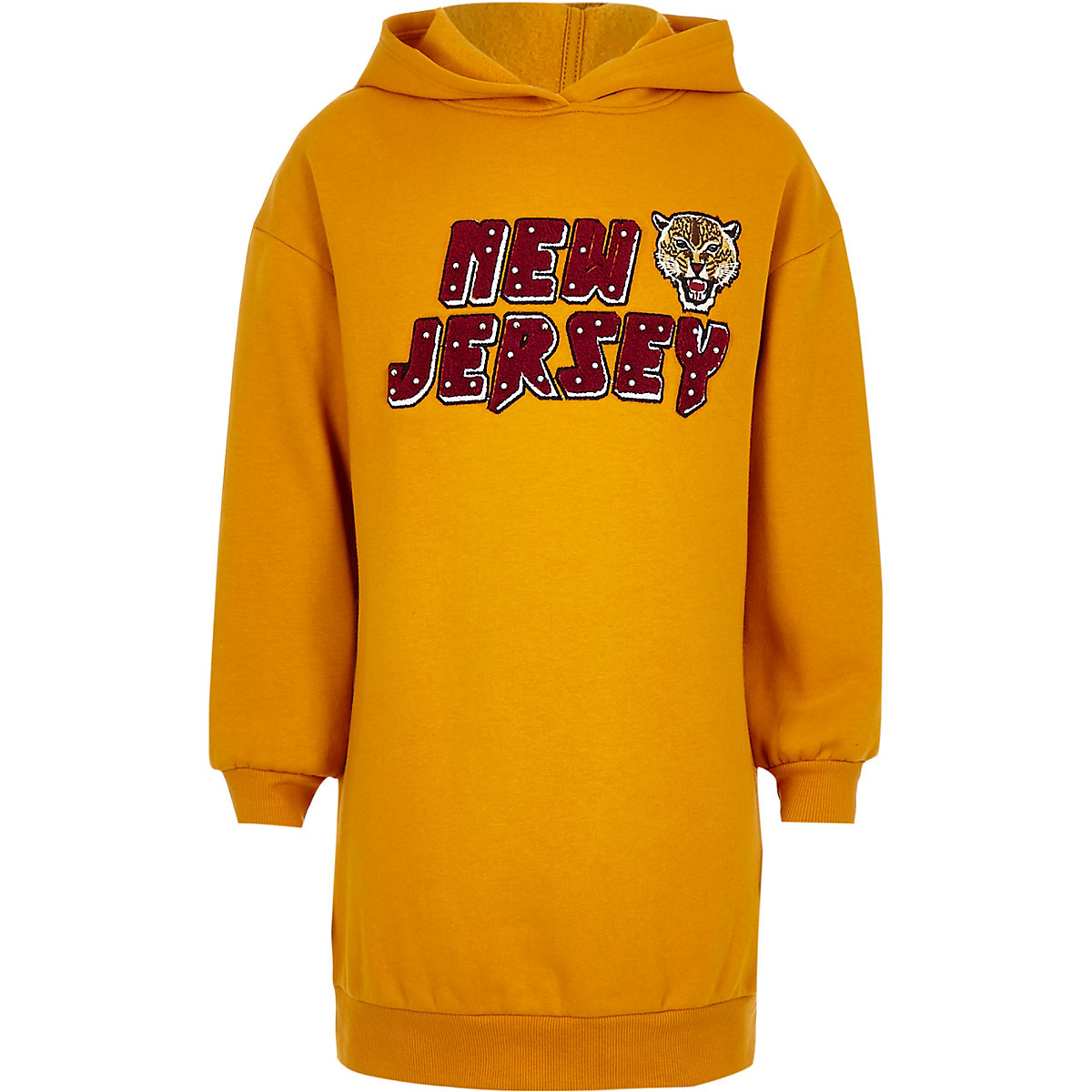 Girls yellow 'New Jersey' tiger sweater dress