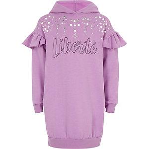 Robe sweat à capuche «liberte» violette à strass pour fille