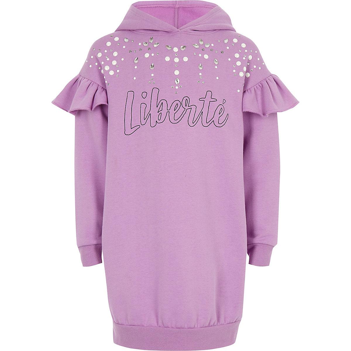 Girls purple 'liberte' rhinestone hoodie dress