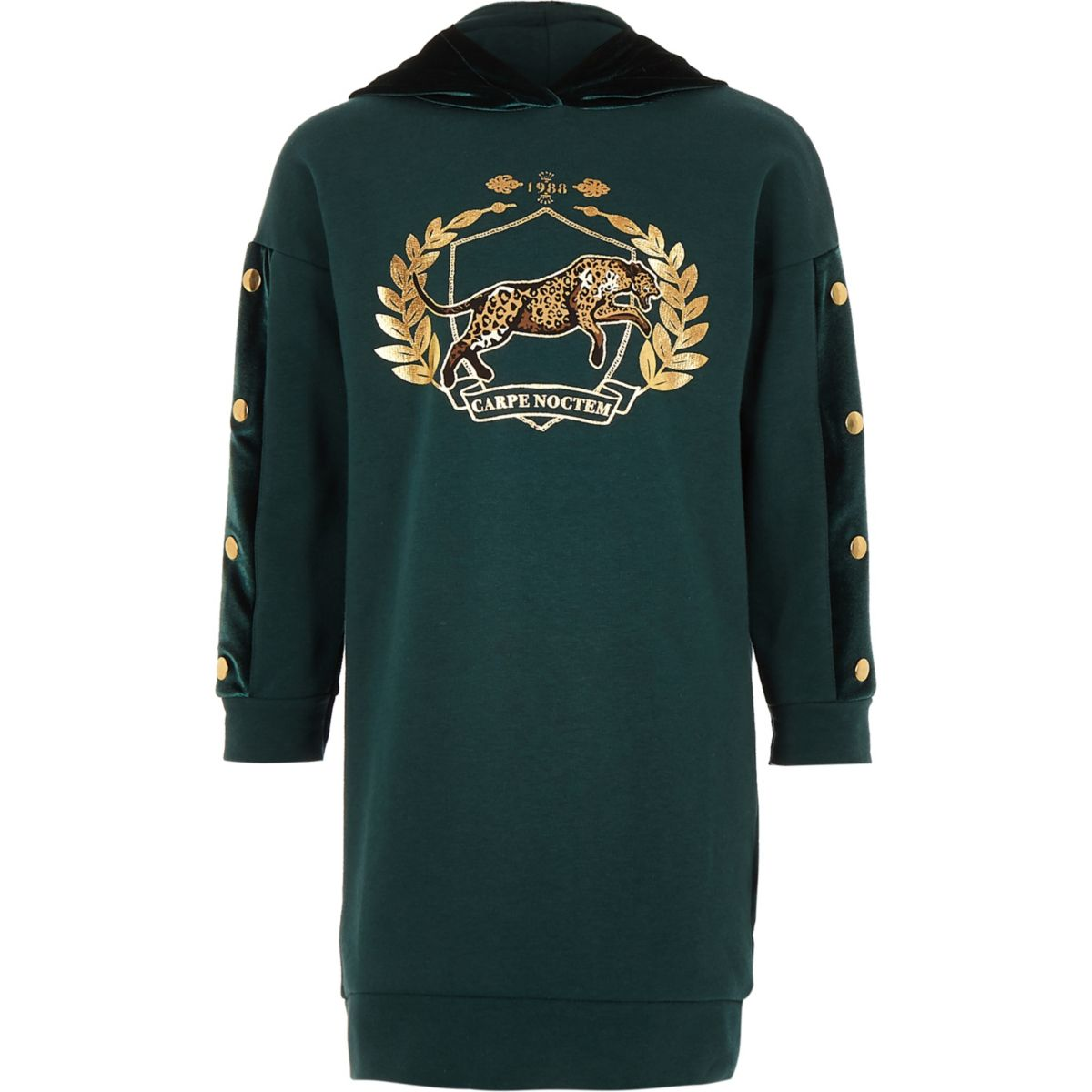 Girls green tiger print velvet hoodie dress