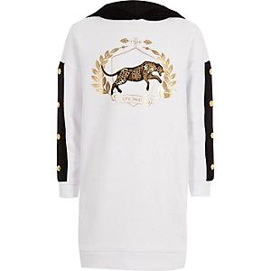 Witte sweatshirtjurk met contrasterend fluwelen paneel voor meisjes