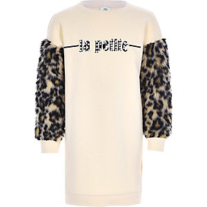 Girls beige leopard print sweater dress