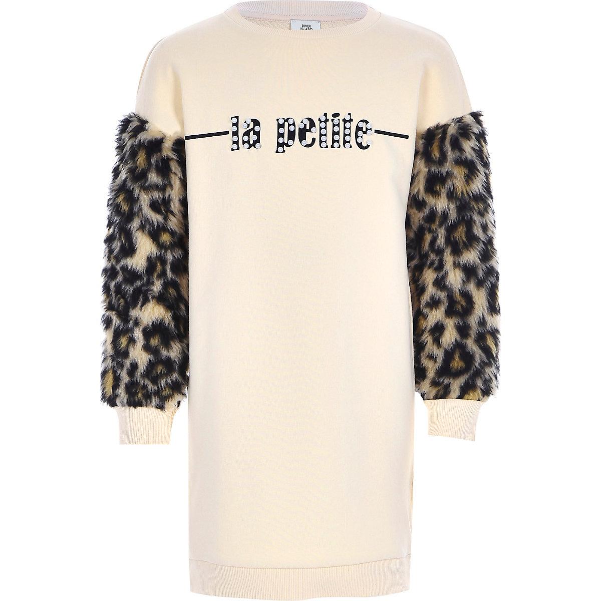 Girls beige leopard print sweater dress