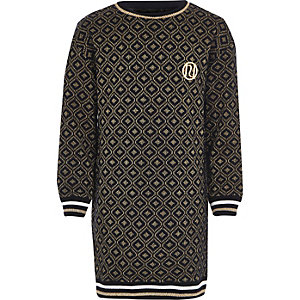 Girls navy jacquard geo print sweater dress