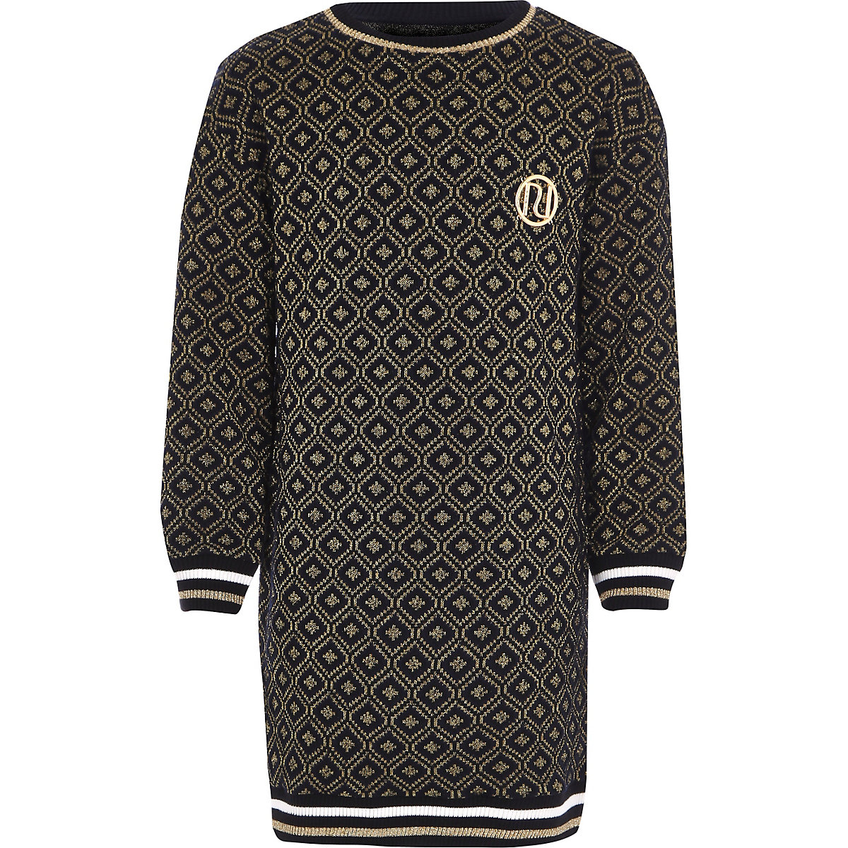 Girls navy jacquard geo print sweater dress