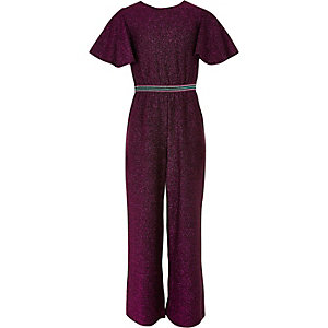 Girls pink glitter waistband jumpsuit
