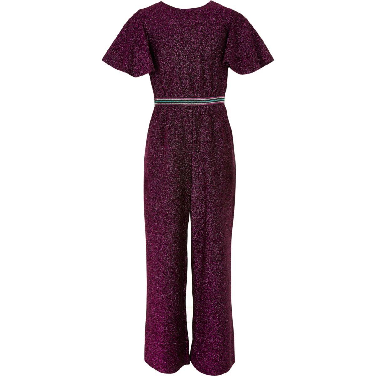 Girls pink glitter waistband jumpsuit