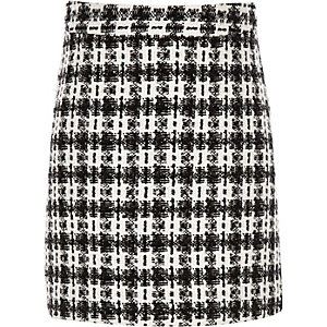 Girls black check boucle skirt