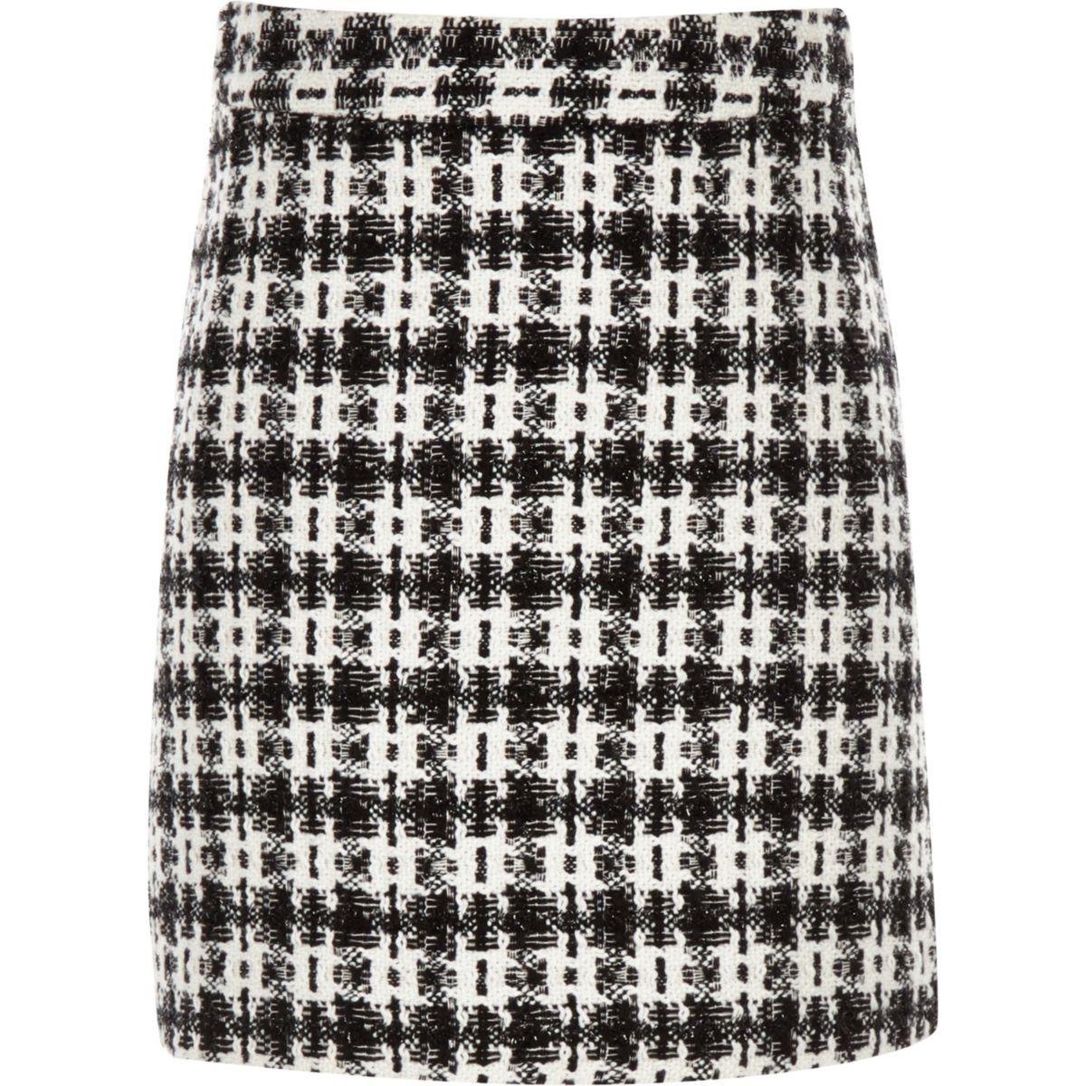 Girls black check boucle skirt