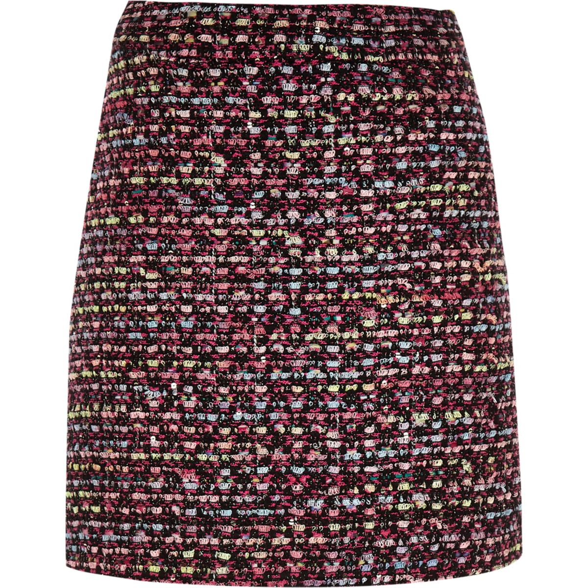 Girls pink and black boucle skirt