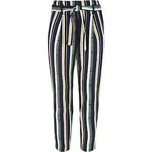 Girls navy chain print tie front pants