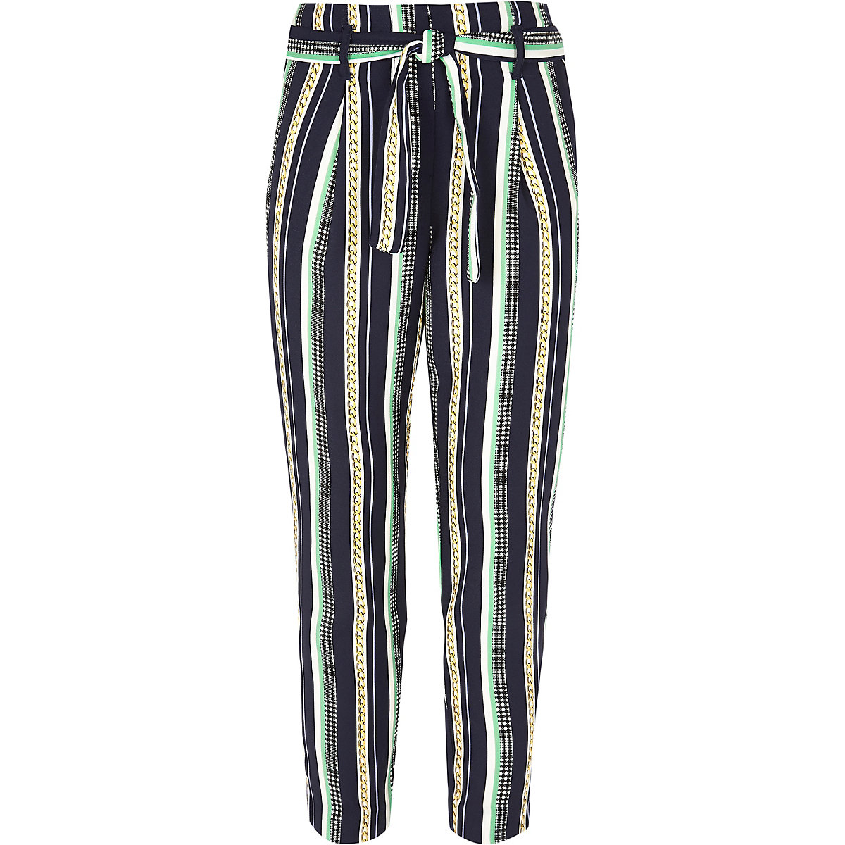 Girls navy chain print tie front pants