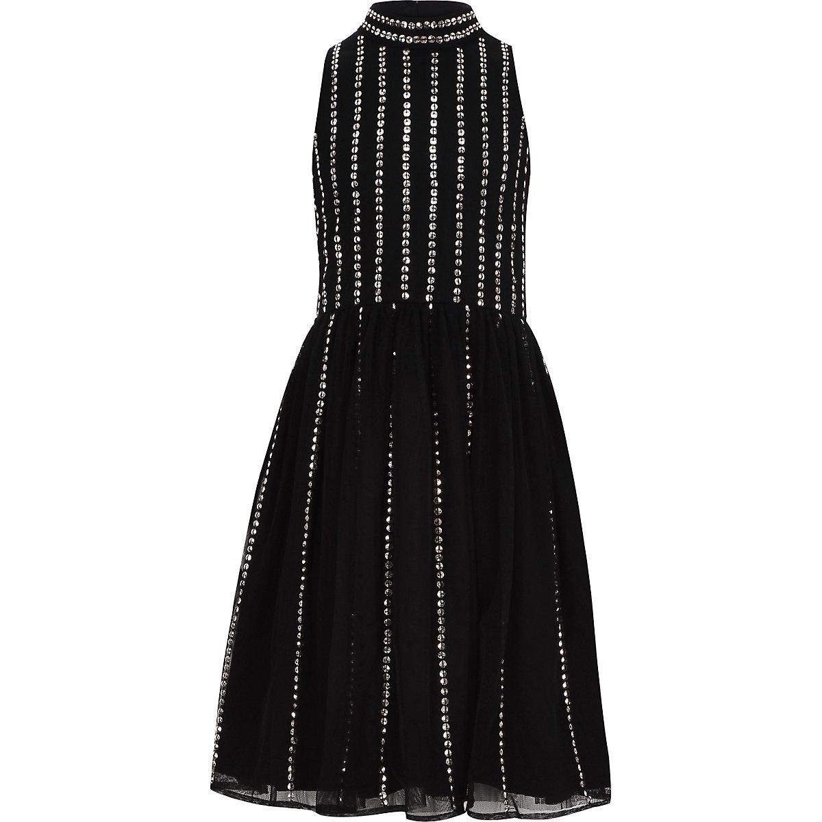 Girls black sequin embellished prom dress