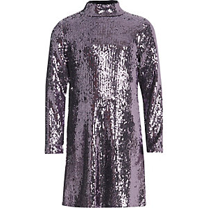 Girls purple sequin high neck dress