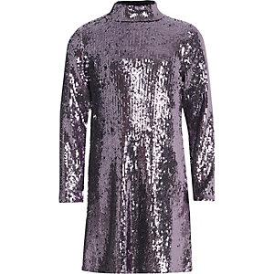 Robe violette à sequins à col montant pour fille