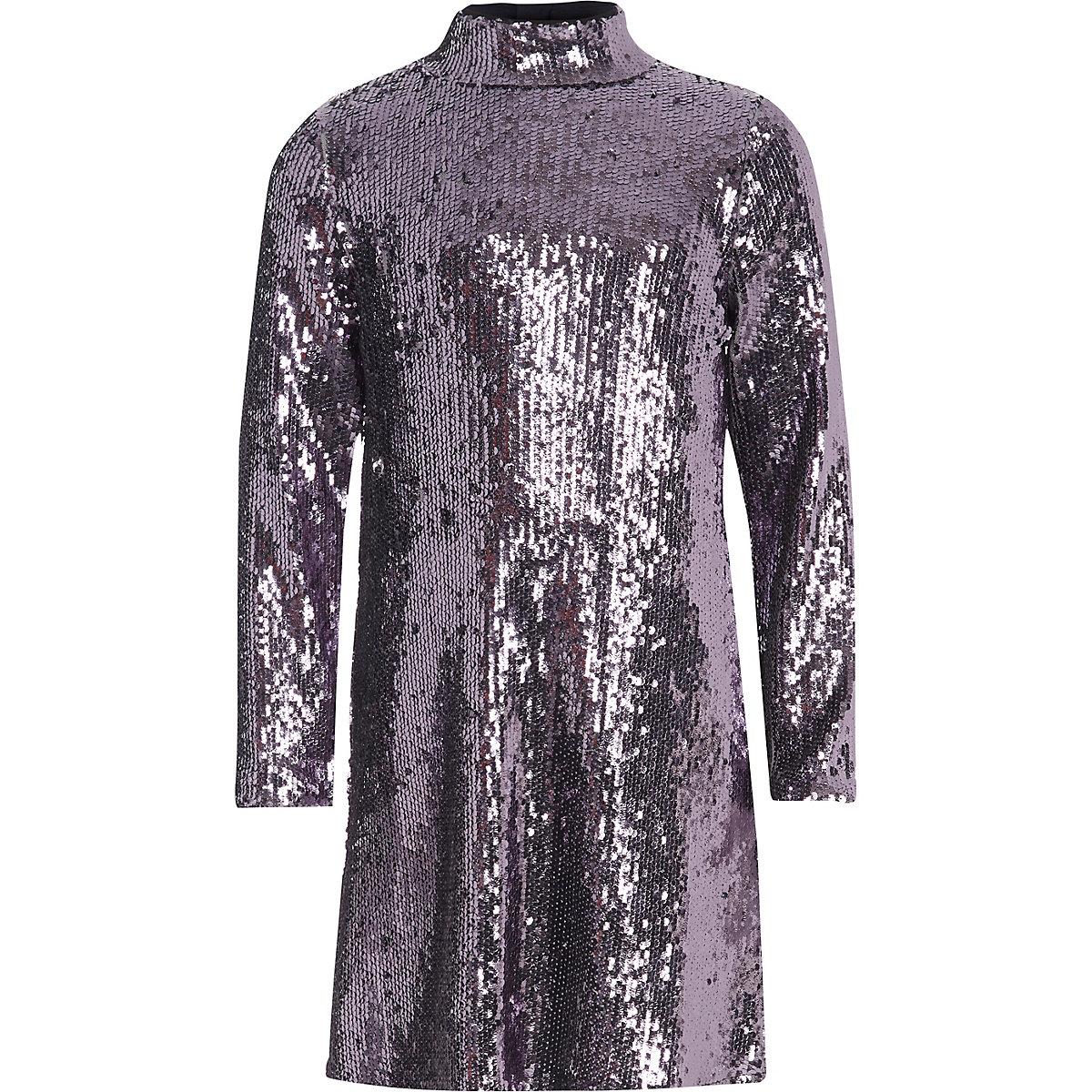 Girls purple sequin high neck dress