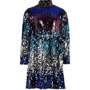 Robe droite multicolore à sequins et encolure haute pour fille