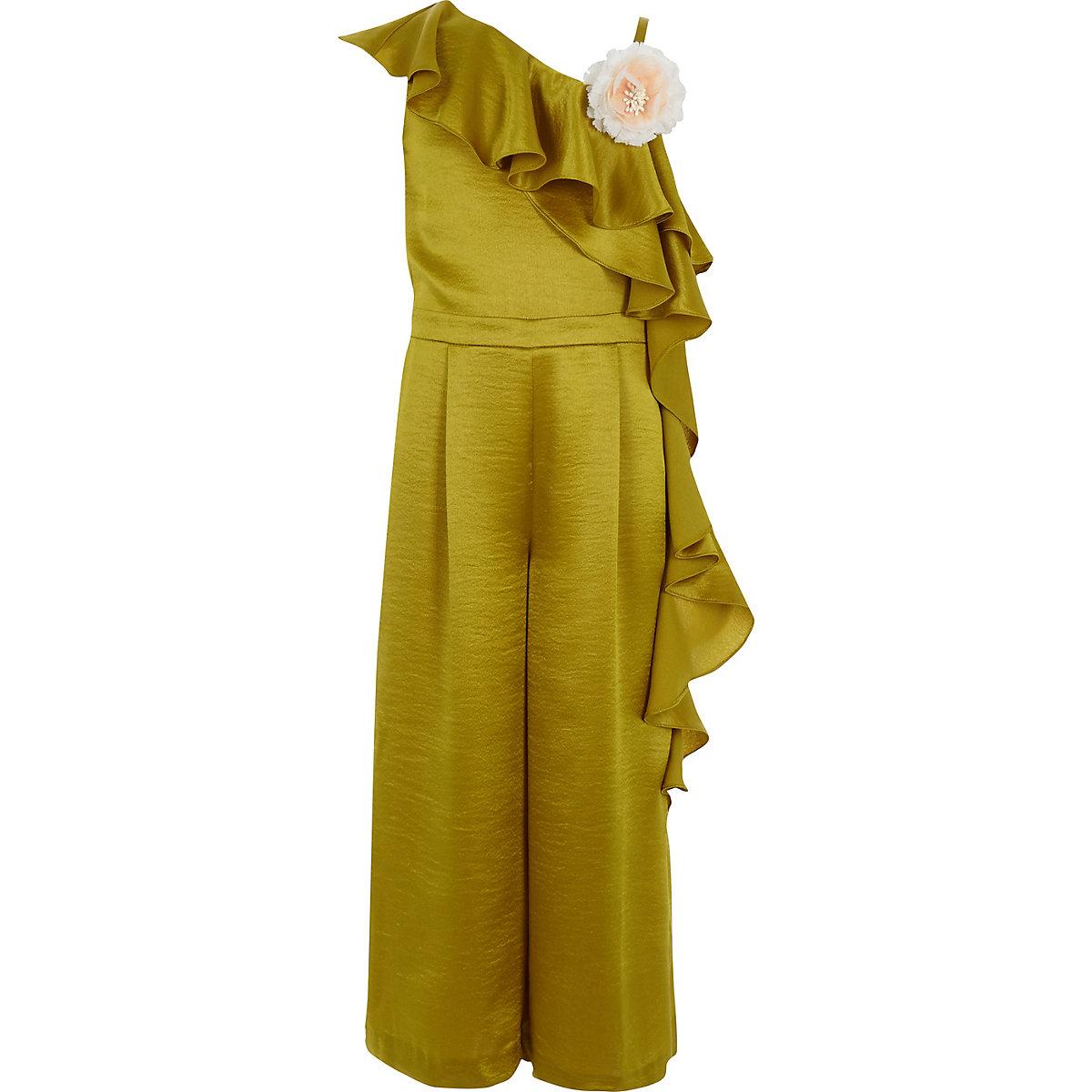 RI 30 girls dark yellow satin frill jumpsuit