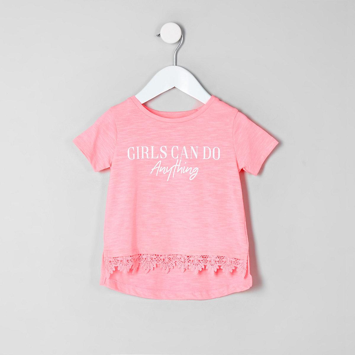 Mini girls 'girls can' crotchet hem T-shirt