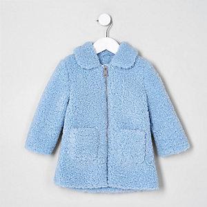 Mini - Blauw jack met imitatieschapevacht voor meisjes