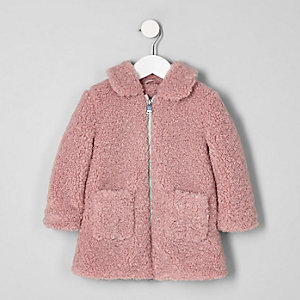 Mini girls pink shearling faux fur jacket