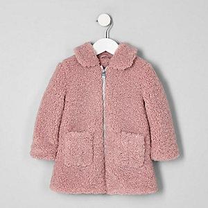 Mini - Roze jack met imitatieschapevacht voor meisjes