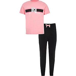 Pyjama rose à logo RI pour fille