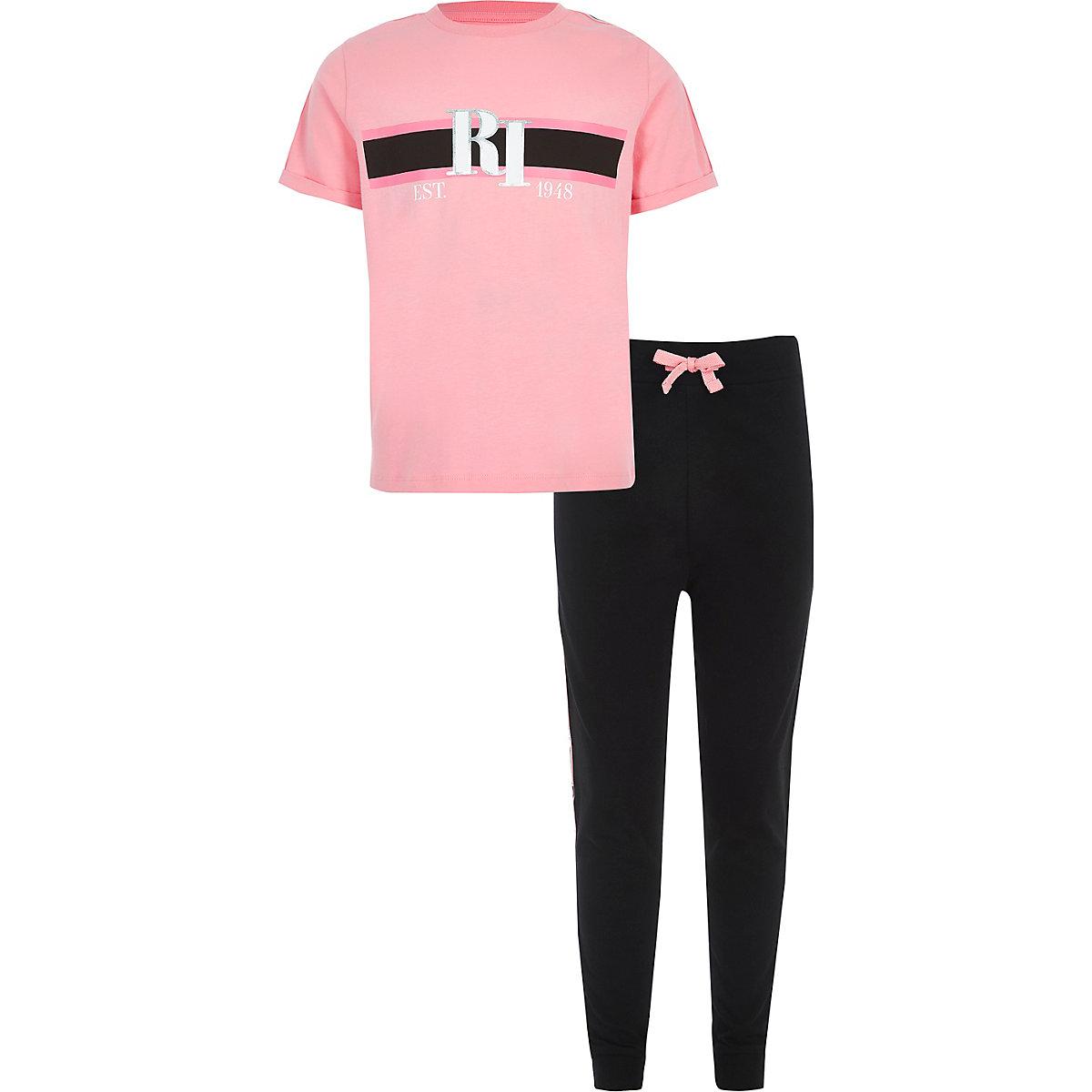 Girls pink RI lounge pajama set