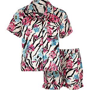 Girls pink floral zebra print pajama set