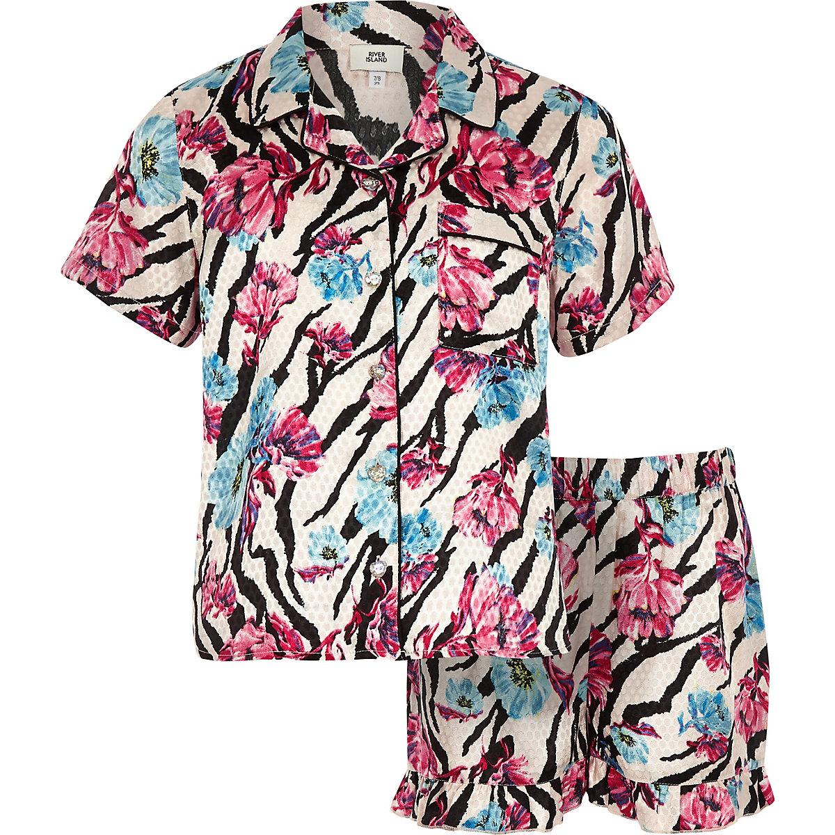 Girls pink floral zebra print pyjama set