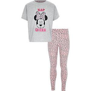 Roze pyjama met Minnie Mouse- en 'Nap Queen'-print voor meisjes