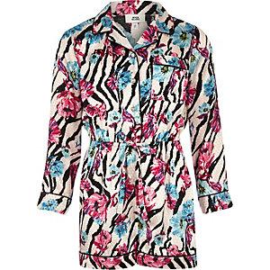 Combi-short de pyjama fleuri à imprimé zèbre rose pour fille
