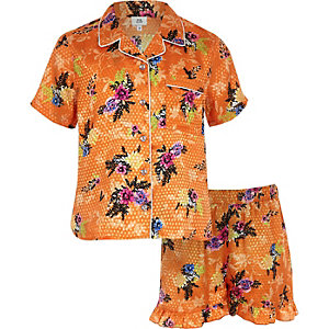 Girls orange floral print pyjama set