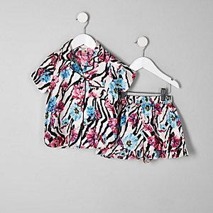 Mini - Roze pyjamaset met bloemen- en zebraprint voor meisjes