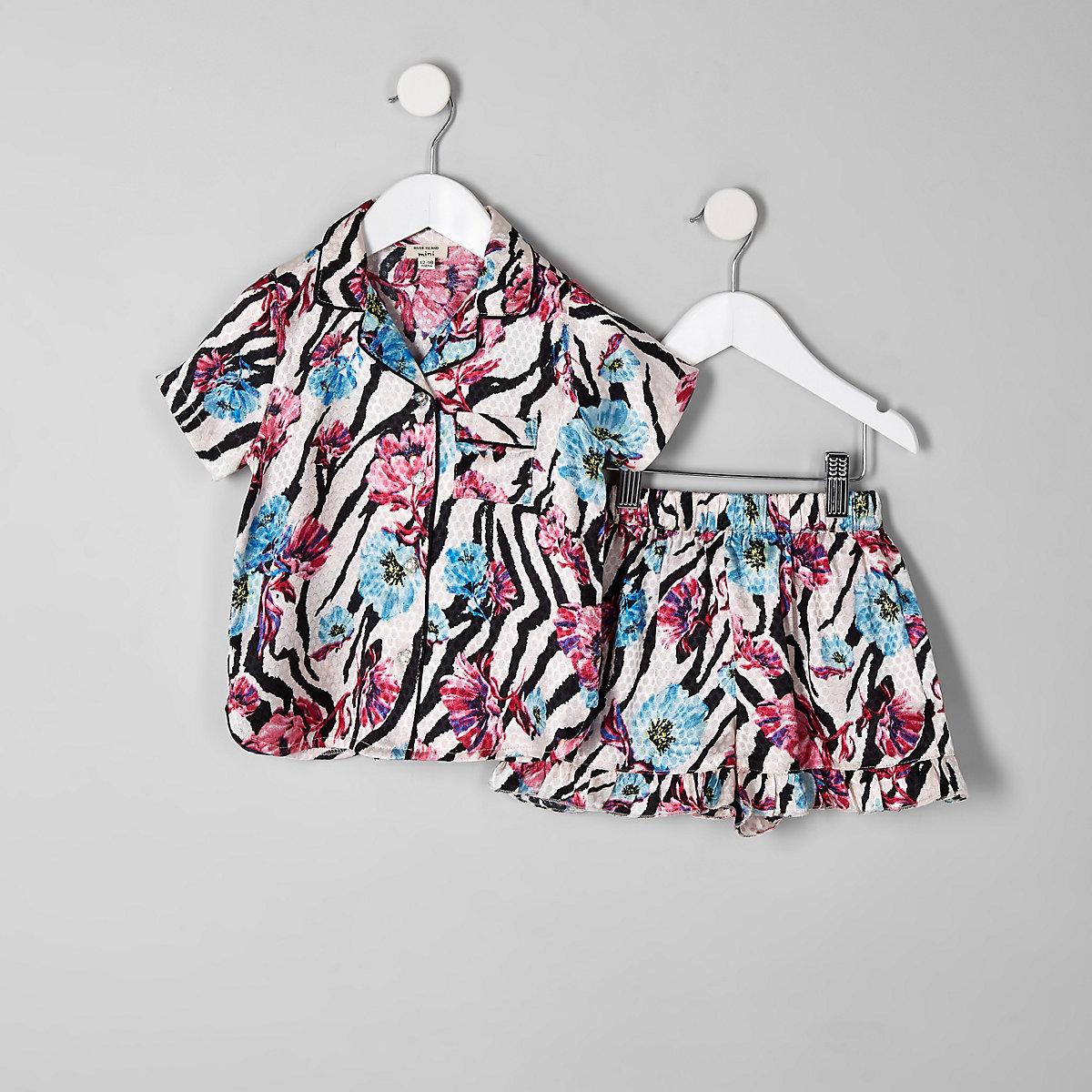 Mini girls pink zebra floral print pyjama set